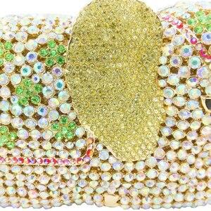 Image 3 - Женская сумка кошелек Boutique De FGG, с золотыми кристаллами и 3d рисунком слона, металлическая, для свадебного и выпускного бала