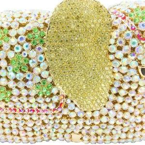 Image 3 - Boutique De FGG Elegance 3D Elephant Shape Gold Crystal Women Evening Handbag and Purse Metal Wedding Prom Minaudiere Clutch Bag