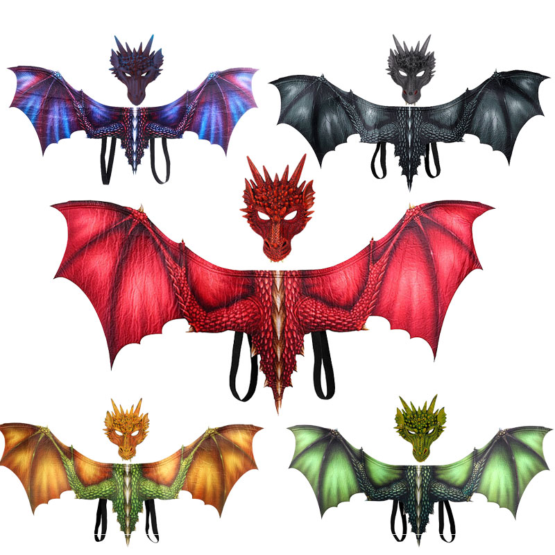 Adult Boy and Girl Kids Halloween Decoration Carnival Party Animal Costume Dragon Cosplay Masquerade Face Mask and Wings 1