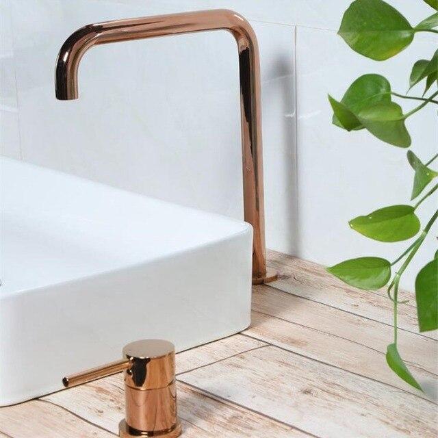 Laiton massif Rose or froid chaud Super Long tuyau deux trous robinet de cuisine 360 évier rotatif Split robinet mat noir/brosse or robinet - 2