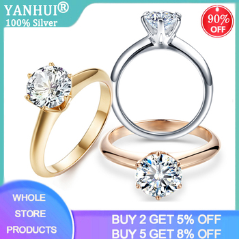 цена YANHUI Brand Classic Pure Solid White/Yellow/Rose Gold Ring Original 8mm 2.0ct Zirconia Diamond Wedding Band Rings For Women онлайн в 2017 году