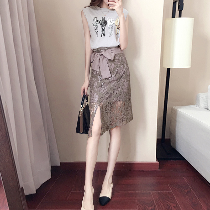 2077 WOMEN'S Suit Summer 2019 New Style Korean-style Fresh And Sweet Slimming Fashion WOMEN'S Dress Lace Skirt Two-Piece Set
