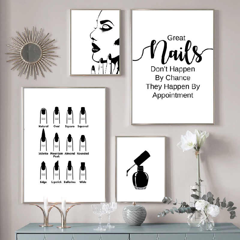 Nail Salon Wall Decoration Beauty Salon Wall Art Canvas Painting Nail Polish Quote Posters and Prints Nail Tech Artist Gift
