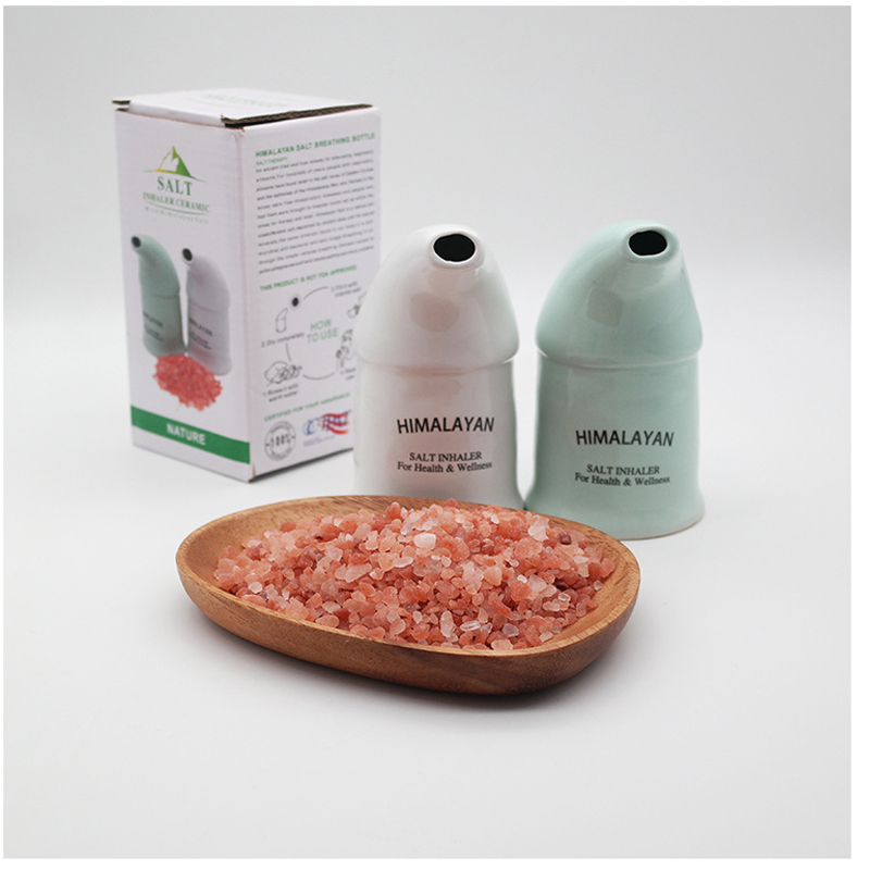 Himalayan Salt Breathing Bottle Salt Inhaler With 300g 3-5mm Natural Himalayan Saltmines Sterilize Relieves Breathing Distress