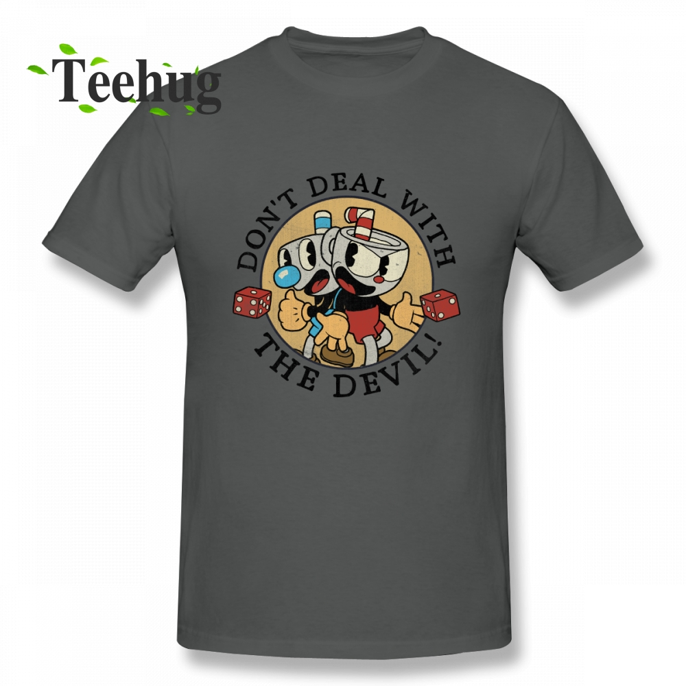 Cuphead mugman T shirt Homme Tee Shirt Men Crazy Unique Design For Male Pure Cotton T Shirt in T Shirts from Men 39 s Clothing