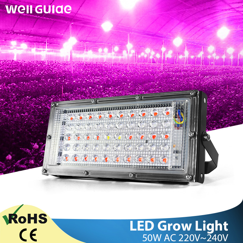 LED Flood Light Plant Growth Flower 50W LED Plant Led Lamp AC 220V Plant Spotlight Green House Plant Hydroponics  Growth Light