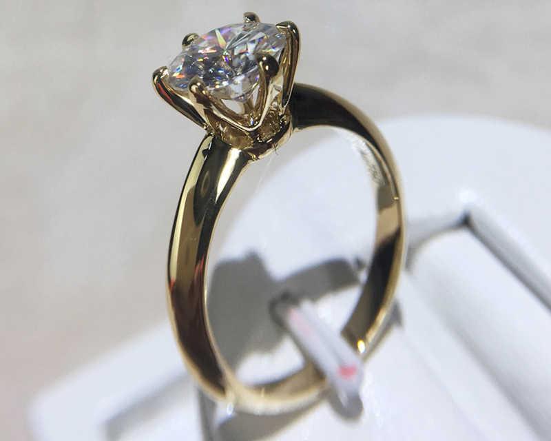 YANHUI Haben 18K RGP LOGO Reine Solide Gelb Gold Ring Luxus Runde Solitaire 8mm 2,0 ct Lab Diamant hochzeit Ringe Für Frauen ZSR169