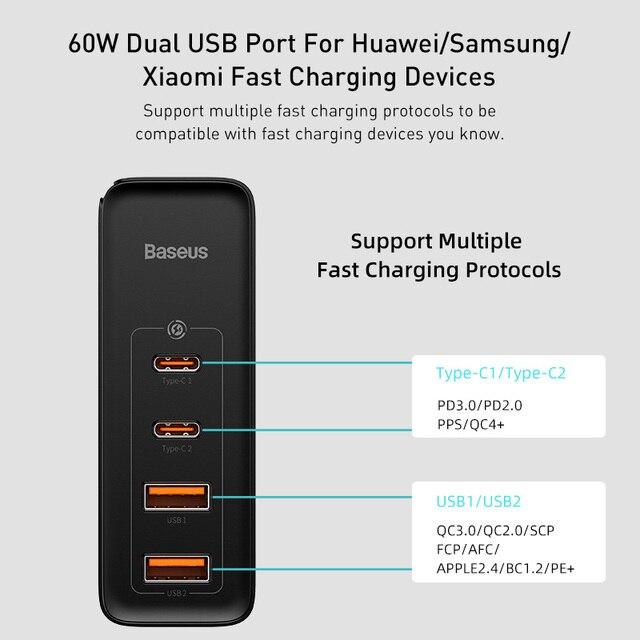 Baseus 100 W USB Schnellladegerät GaN PD 3