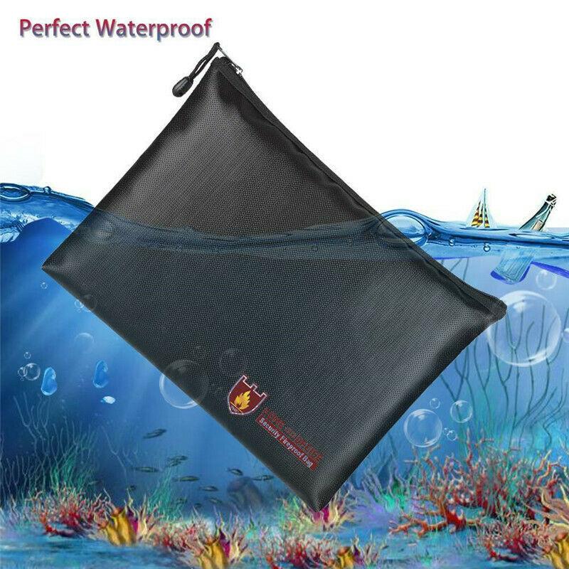 Fireproof Document Bag Black Money Safe Box Secret File Protect Pouch Liquid Silicone Fiberglass Cloth Document Storage Safe Bag