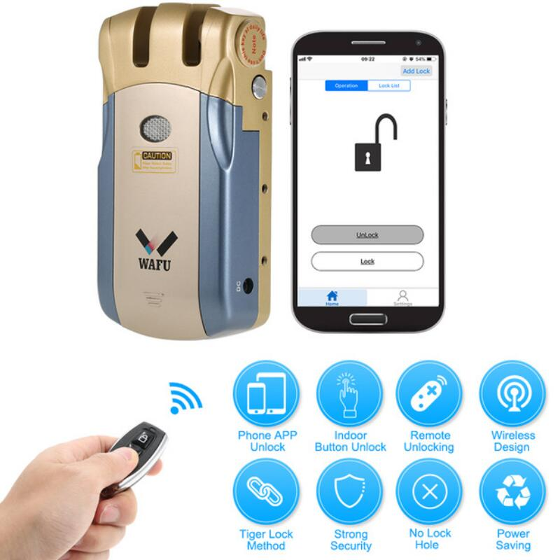 2018 Wafu 010 Keyless Entry Electronic Remote Door Lock Wireless 433mHZ Invisible Intelligent Lock With 4 Remote Keys|Electric Lock| |  - title=
