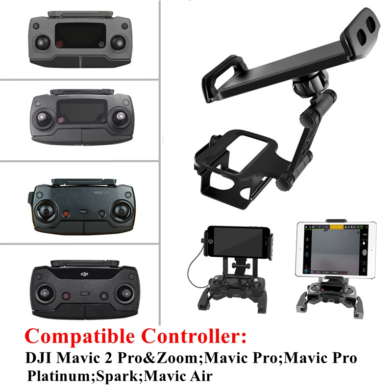DJI Mavic Pro/2/Air/Spark Remote Control Phone Tablet Monitor Extension Holder Bracket Mount Clip Front-facing Controller Stand