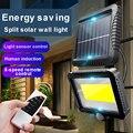 Уличный настенный светильник с датчиком движения, водонепроницаемый садовый фонарь с дистанционным управлением, 120 светодиодов, COB, лампа д...
