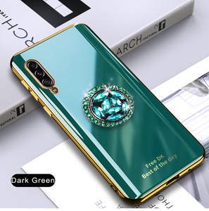 Image 3 - Shiny Diamond Finger Ring Plating Silicone Phone Case For Samsung Galaxy A7 2018 A750 Coque Ultra thin Soft TPU Cover