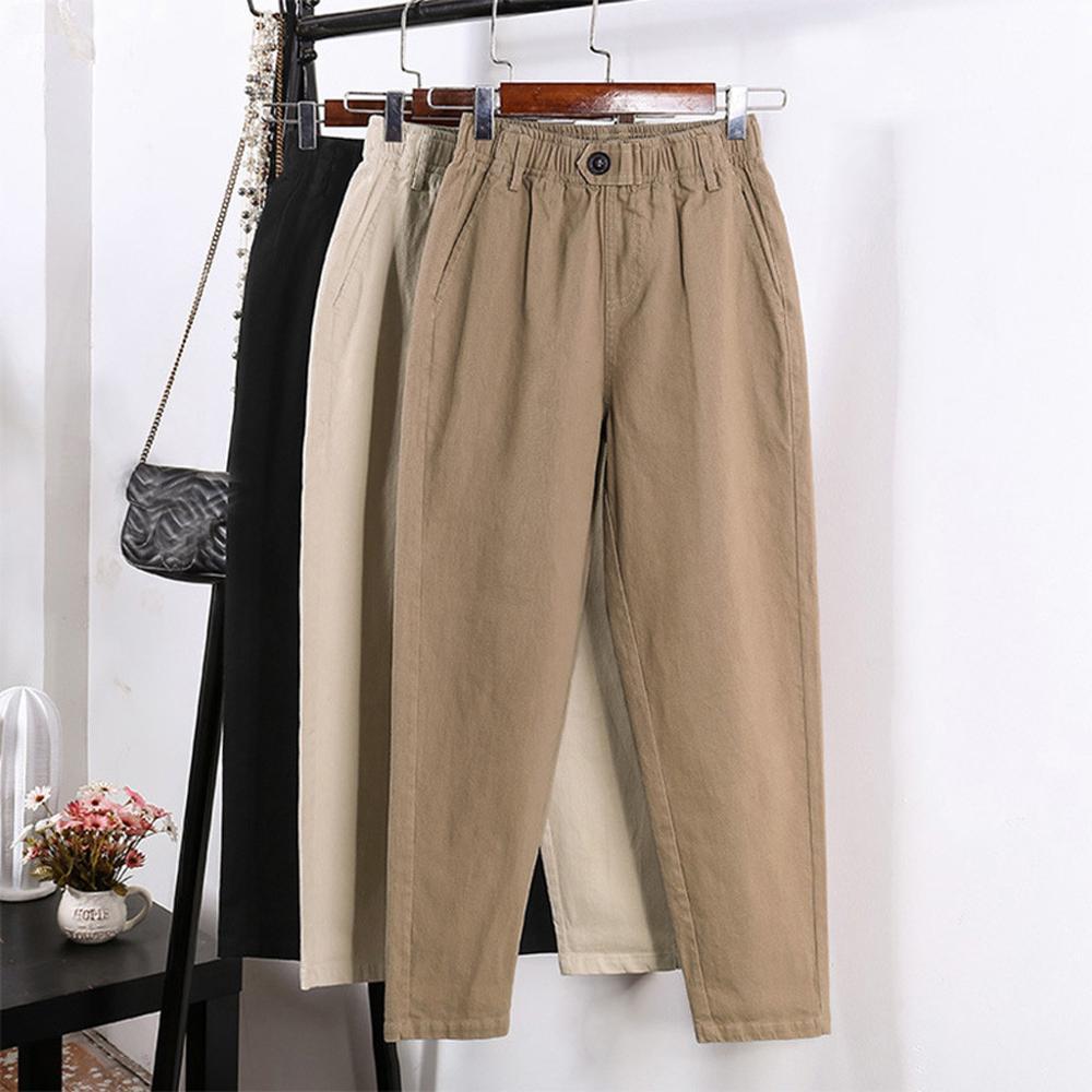Solid Color High Waist Harem Pants Women Loose Straight Trouser Harem Pants Casual Loose Streetwear Ladies Pants #20