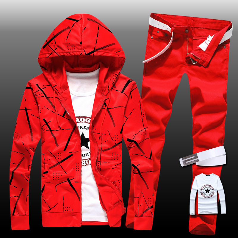 Autumn Men's Sweatshirt Pants 2pcs Set Hooded Top Coat Pencil Pants Trousers Slim Fit Casual For Boys Male Clothing B34