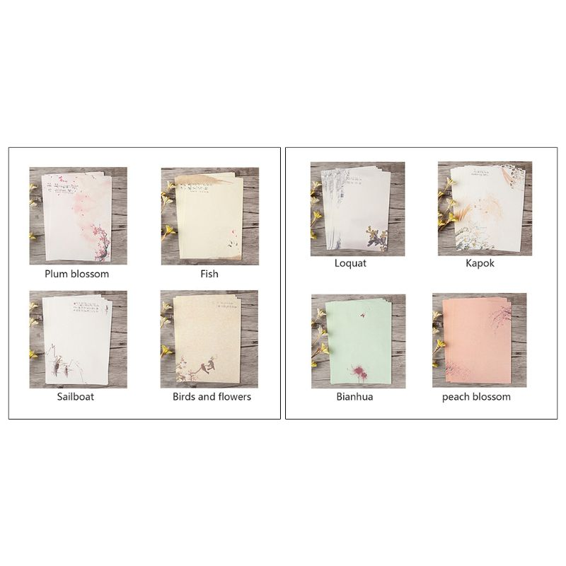 32pcs Home Vintage Writing Letter Paper Retro Writing Stationery School Supplies