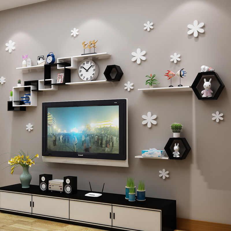 etagere murale en bois treillis simple et creatif pour chambre a coucher salon decoration murale claquette etagere pour diverses combinaisons