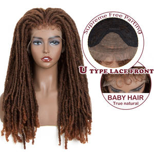Magic Synthetic Wigs Locks Crochet Natural-Braids Faux-Locs Goddess Brown Lace-Front