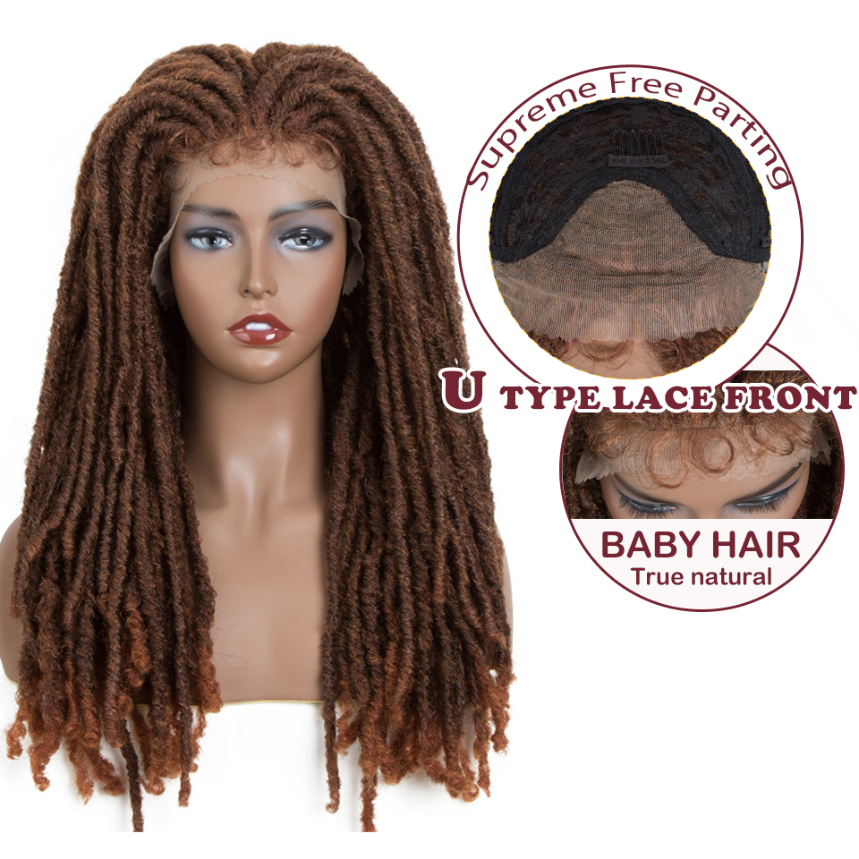 Magic 24 Inch Goddess Faux Locs Crochet Synthetic Wigs Natural  Braids Brown Synthetic Lace Front Wig For Women Locks