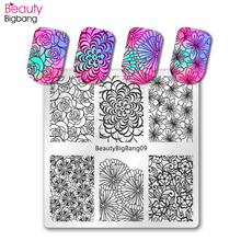 BeautyBigBang Nail Stamping Plates 6*6cm Square Lace Flower Art Stamp Template Image Plate Stencils Mold