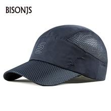 BISONJS к 2020 году новые мужчины дышащий быстросохнущие буквы вышивка регулируемая бейсболки женщины бейсболка открытый snapback шляпу от Солнца