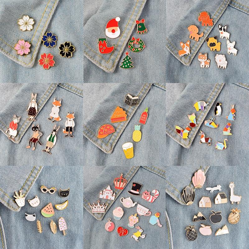 Miss Zoe 4~14pcs/set Cartoon enamel pins set Fairy tale Brooches Denim coat backpack Lapel Pin Badge Cute Animal Jewelry Gift