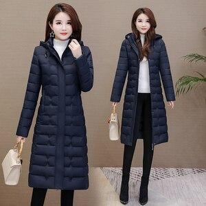 Image 4 - 冬のコートの女性生き抜く2020ロングパーカープラスサイズ4XL暖かい厚手のダウンジャケットフード付きファッションスリム固体冬服女性