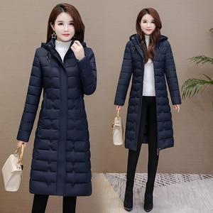 Image 4 - Зимние пальто, женская верхняя одежда 2020, Длинные парки, большие размеры 4XL, теплая толстая пуховая куртка с капюшоном, модная облегающая однотонная зимняя одежда для женщин