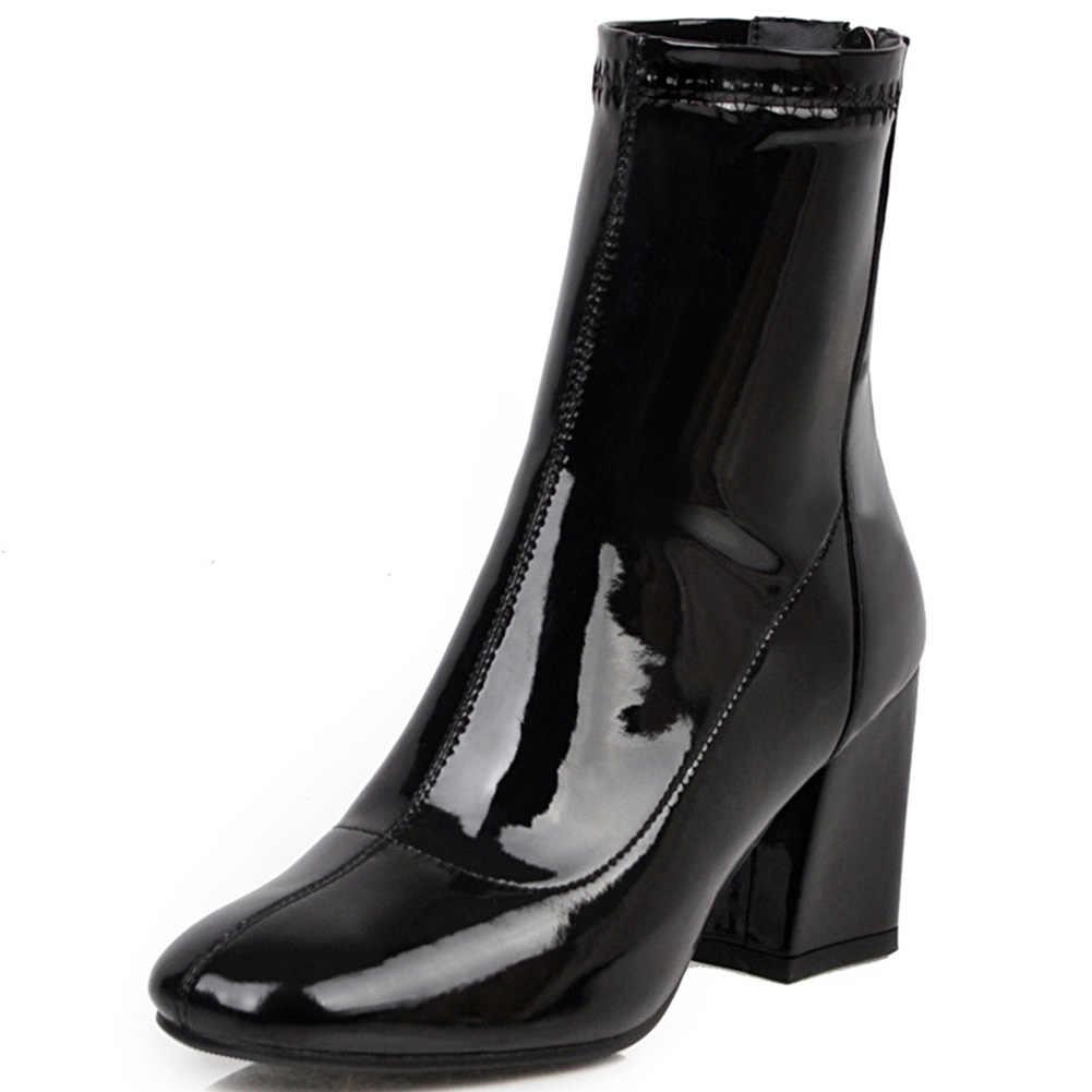 SARAIRIS ใหม่ PLUS ขนาด 33-46 แฟชั่นสิทธิบัตร PU Booties สุภาพสตรีแฟชั่นข้อเท้ารองเท้าผู้หญิงรองเท้าส้นสูง 2020 OL รองเท้าผู้หญิง