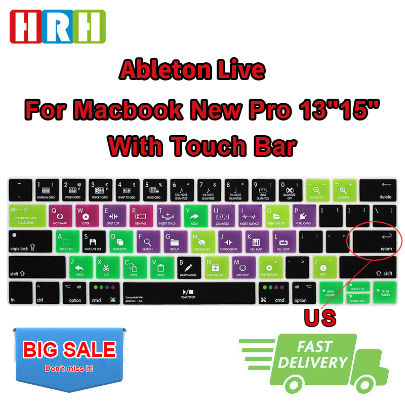HRH Ableton Live Hotkey Silicone US Keyboard Cover Skin For Mac Pro 13