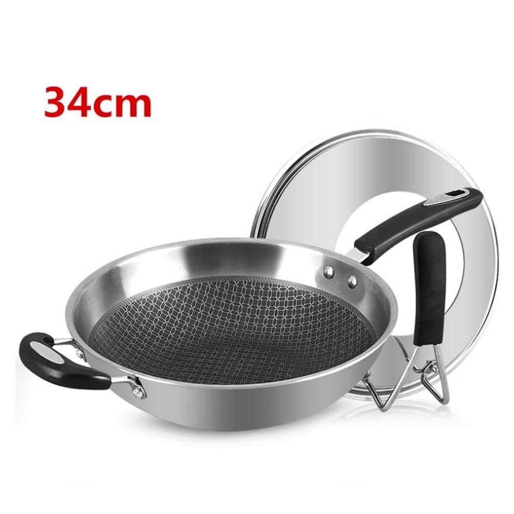 34cm 304 Stainless Steel Eco-Friendly Non-Stick Smokeless Wok  5