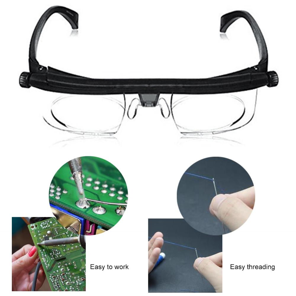 Unsex Adjustable Strength Lens Eyewear Variable Focus Distance Vision Zoom Glasses Protective Magnifying Glasses W/ Storage Bag