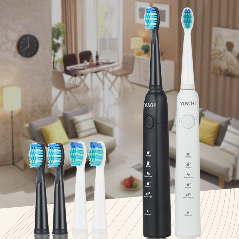 Sonic Electric Toothbrush Brand Teeth Whitening Replacement Brush Heads USB Recharging Tooth Brush Dental Teeth Cleaner White image