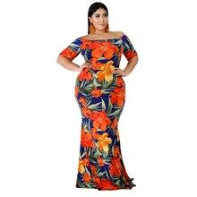 Laughido Plus Size Summer Floral Print Bodycon Maxi Women Dress Beach Boho Short Sleeve Vestidos Party Slash Neck Robe
