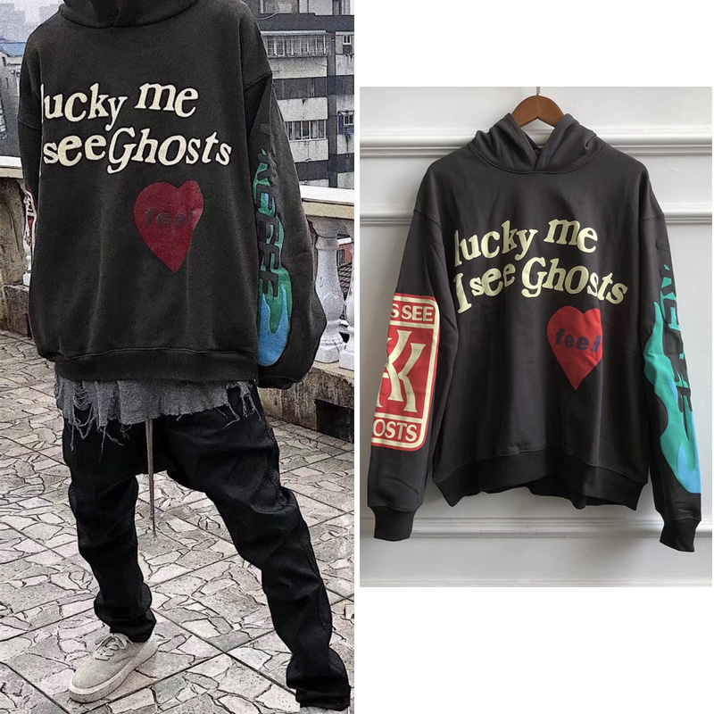 Kanye West Red Heart Graffiti 3D Foam Letter Pattern Gray Men Hoodies Hooded Sherpa Sweatshirt Men Oversize Hoody Hoodie