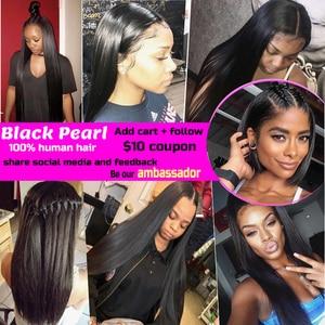 Image 5 - Black Pearl Pre Colored 3 Bundles with Closure Straight Human Hair Bundles with Closure Brazilian Hair Weave Bundles Remy Hair