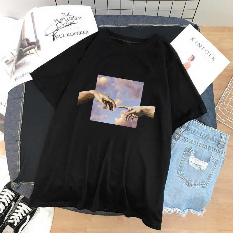 ミケランジェロ美的アート油絵スカイ原宿楽しい人格プリントストリート tシャツオルヒップホップカジュアル女性トップス