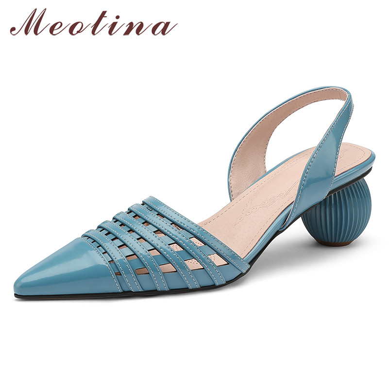 Meotina High Heels Women Pumps Natural Genuine Leather Strange Style High Heel Slingbacks Shoes Cutout Pointed Toe Shoes Lady 43