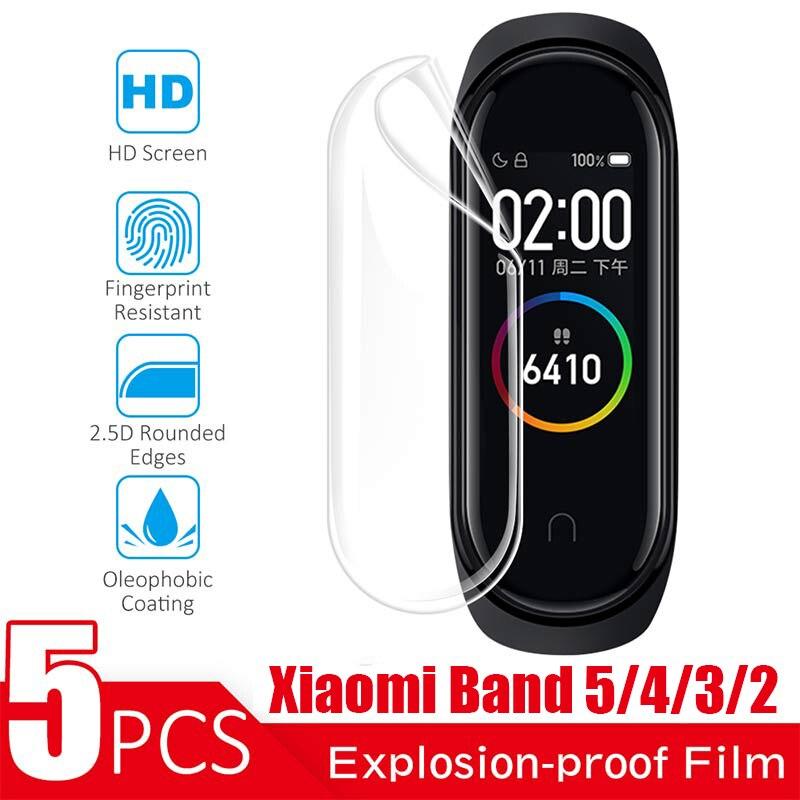 5 шт./комплект, Защитные Мягкие ТПУ Смарт-часы для Xiaomi Mi Band 5 4 3 2