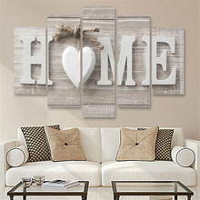 Unframed 5 Pieces Letter Canvas Painting Love HOME Wall Art Print Pictures for Home Living Room Bedroom Decoration Poster minimalist fresh unframed paintings little girls back canvas posters wall painting art print for home bedroom decoration