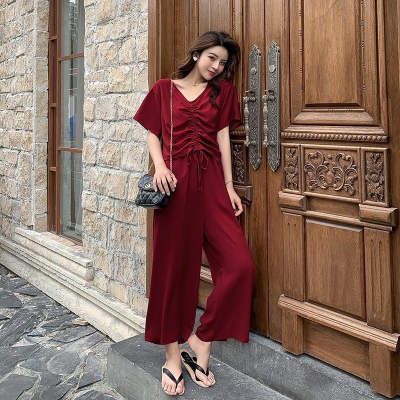 Customizable Set  Summer New Style Korean-style V-neck T-shirt + High-waisted Loose Pants Royal Sister Trendy Two-Piece Set