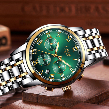 LIGE Top Brand Luxury Green Fashion Chronograph Male Sport Waterproof Clock 6