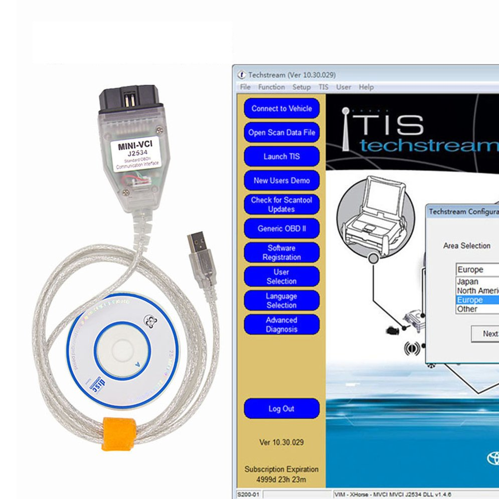 High Performance VCI J2534 For Toyota TIS Techstream Cable Car OBD2 Diangostic Cable For Windows XP