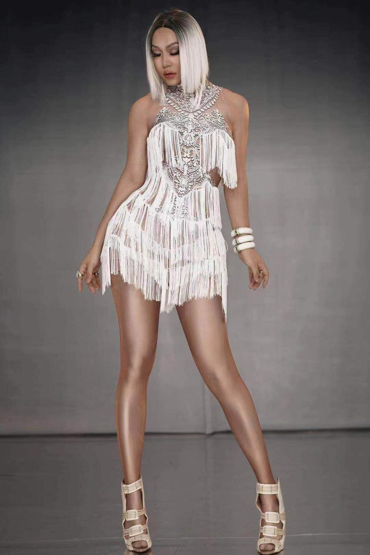 High Elastic Custume Sexy Women Diamonds  Dj Ds Outfit Night Tassel Fashion Bodysuit
