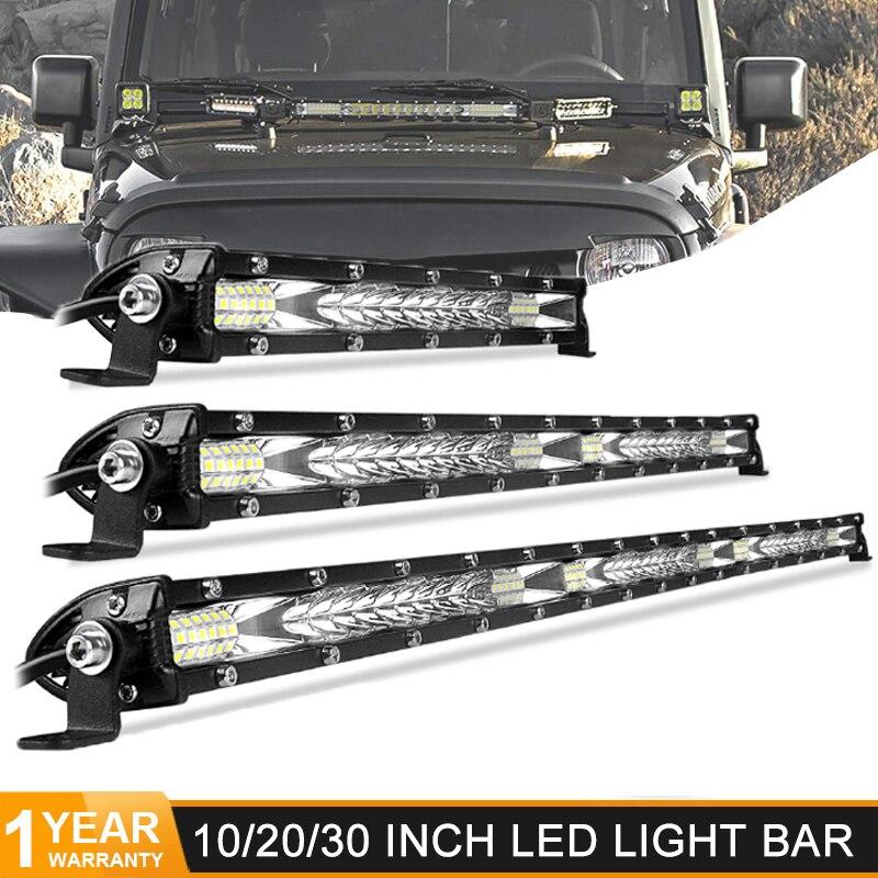 Ultra Slim 10 20 30 inch Led Work Light 12V 24V Led Bar Combo Spot Flood for Jeep ATV Trucks Tractor Driving Light Car Styling