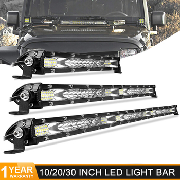 Ultra mince 10 20 30 pouces Led lumière de travail 12V 24V barre de Led Combo Spot projecteur pour Jeep ATV camions tracteur voiture style