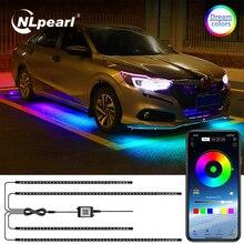 NLpearl RGB Car Underglow Light Remote/APP Control Flexible LED Strip Car LED Neon Underbody Light Atmosphere Decorative Lamp