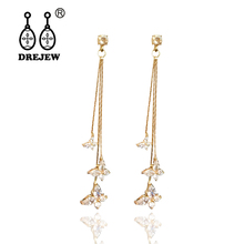 DREJEW Crystal Butterfly Long Tassel Statement Earrings Zircon Alloy Drop for Women Fashion Christmas Jewelry HE069
