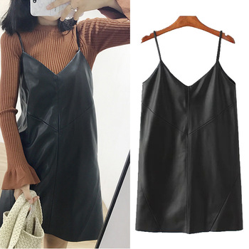 New Women's Leather Dress Casual 2019 New V-neck PU Leather Dresses Black Sexy Female Over Ankle Shorts Dress image