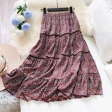 Long Floral Skirt Women Plus Size Pleated Ladies Retro Maix Skirts Patchwork Ruffles Hem Print Loose Fit 2020 Spring Summer plus pleated kit rib high dip hem top